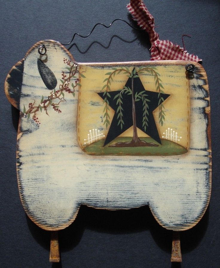 Primitive Sheep Sign Wall Hanging Willow Star Hand Painted Wood. $10.95, via Etsy.