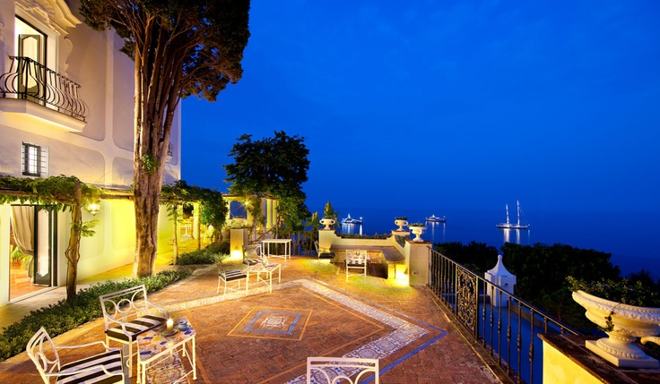 Villa treville on the Amalfi Coast - probably the most beautiful hotel I have been to. www.treville.it  (Boutique hotel - 15 luxury rooms - right on the sea)