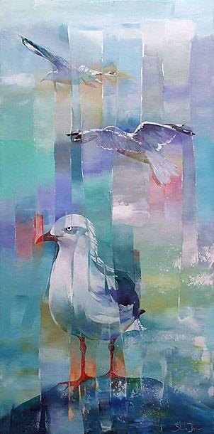 sheila brown nz bird artist, colourful acrylic paintings