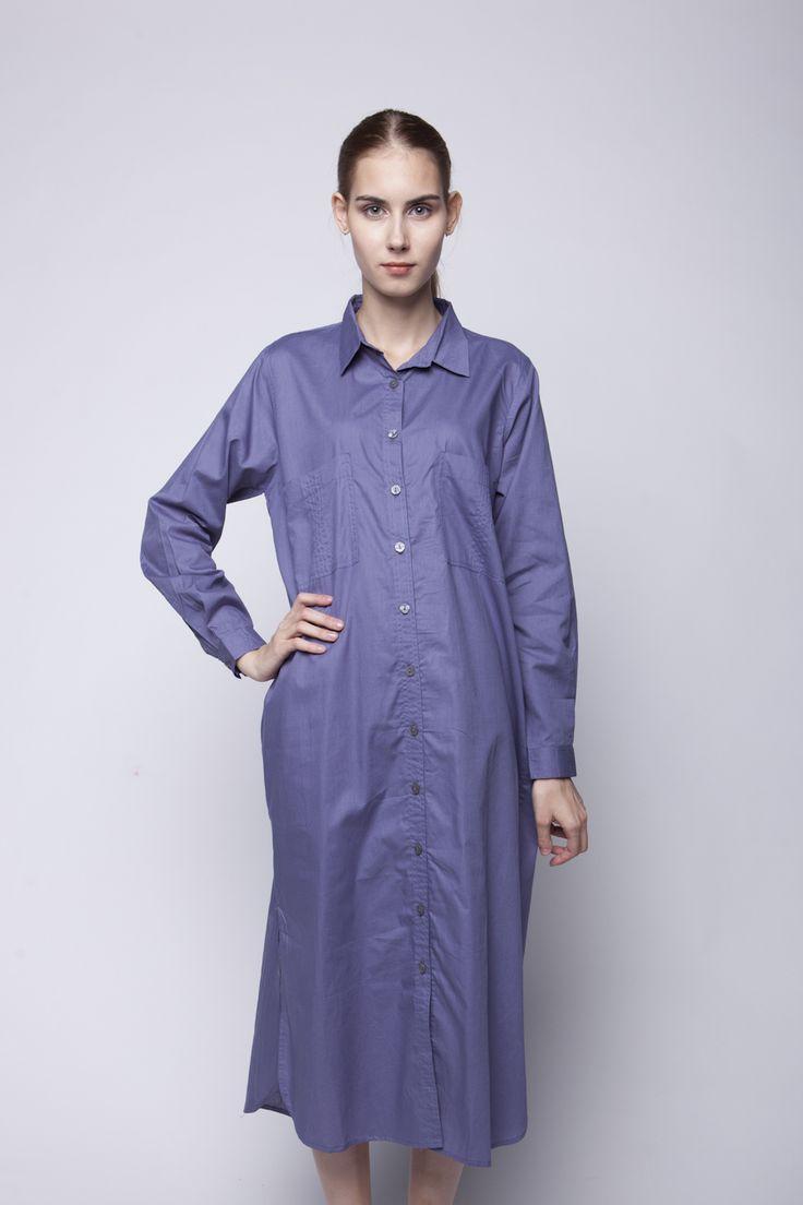 Jenara Shirt Dress Blue   Rp 221.250