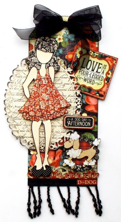 Cute tag by Maggi Harding combining Graphic 45 Raining Cats and Dogs collection and a Julie Nutting Prima doll. @Simple Pleasures Rubber Stamps and Scrapbooking.
