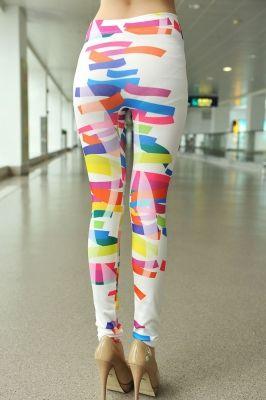 Stretch Irregular Pattern Printed Leggings | GlobalMarket - Clothing on ArtFire