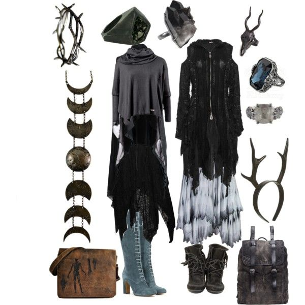 dark forest mori by khaos7 on Polyvore featuring Alexander McQueen, Etro, Minnetonka, Lady Grey, LAS Jewelry and Diesel