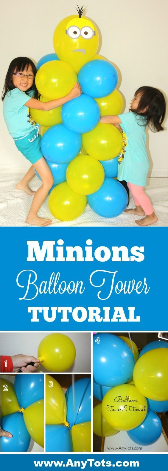 Minions Party Ideas. Go through our Minions Balloon Tower Tutorial on the blog. www.anytots.com Bonus: Free Printable Minions party booth props. www.anytots.com