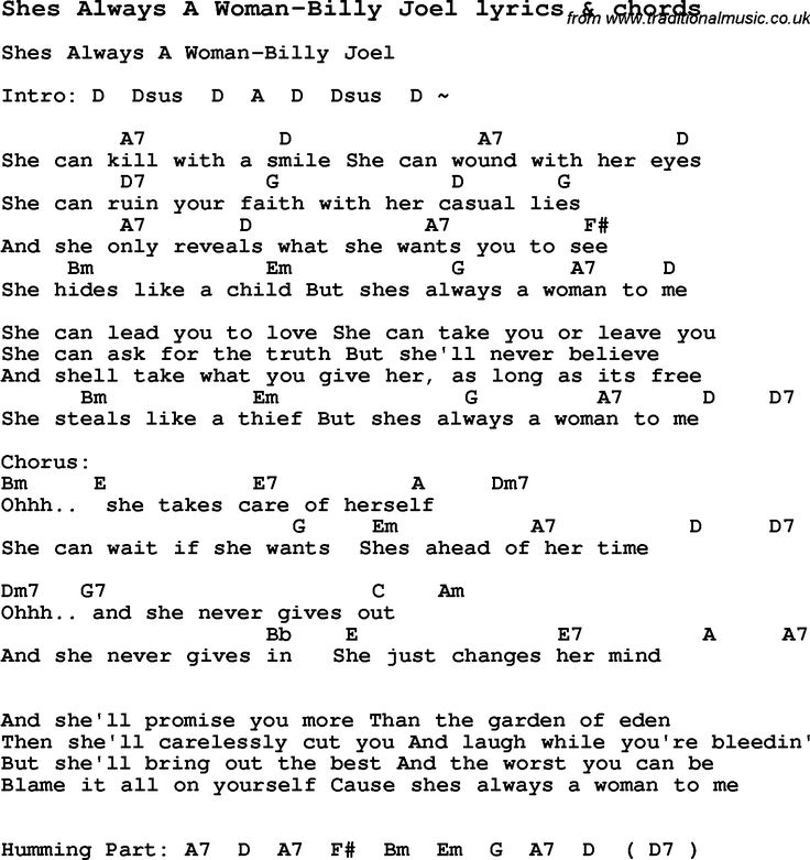 Love Song Lyrics for: Shes Always A Woman-Billy Joel with chords for Ukulele, Guitar Banjo etc.