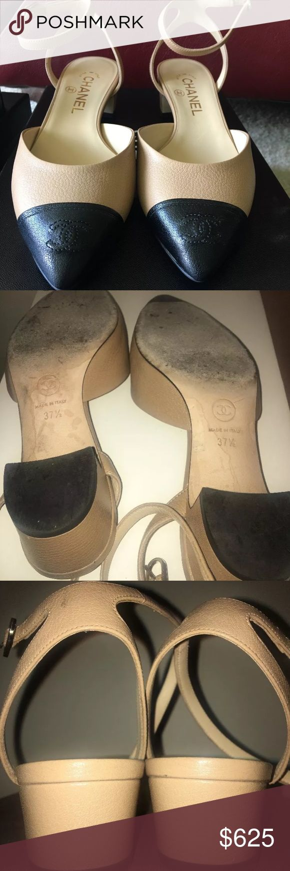 Chanel flats authentic shoe Monday sale 🌟 Like new Chanel flat goat skin original box and dust cover included.  35 MM HEEL 1.4 IN HEEL.   Price is firm.   Beige/ black kid pointy city with ankle strap.  Retails now in Chanel boutique for $825.   Make offer looking to sell by Saturday CHANEL Shoes Flats & Loafers