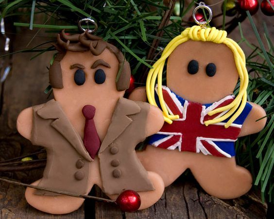 Tenth Doctor Who and Rose Gingerbread Christmas Ornament. $19.00, via Etsy.:
