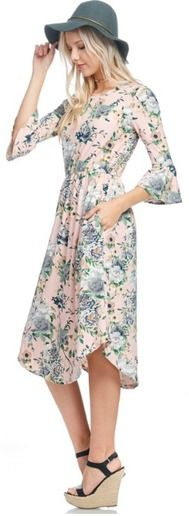 Check out this cute modest floral midi length round hem pocket dress! It features a soft material, 95% polyester 5% spandex, and is so comfortable, modest and stylish!