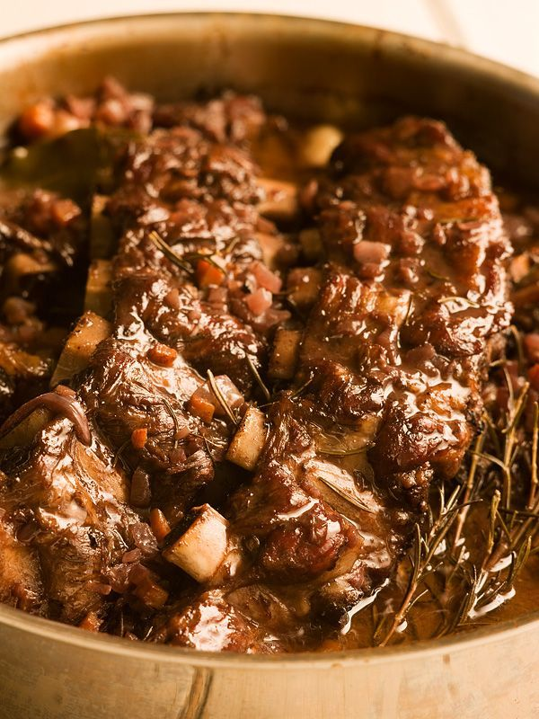 Red Wine-Braised Short Ribs - from Michael Smith - nothing like slow cooked short ribs, cooked in red wine!