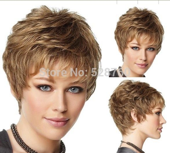 Natural curly light brown hair wigs  High quality synthetic wigs Free shipping