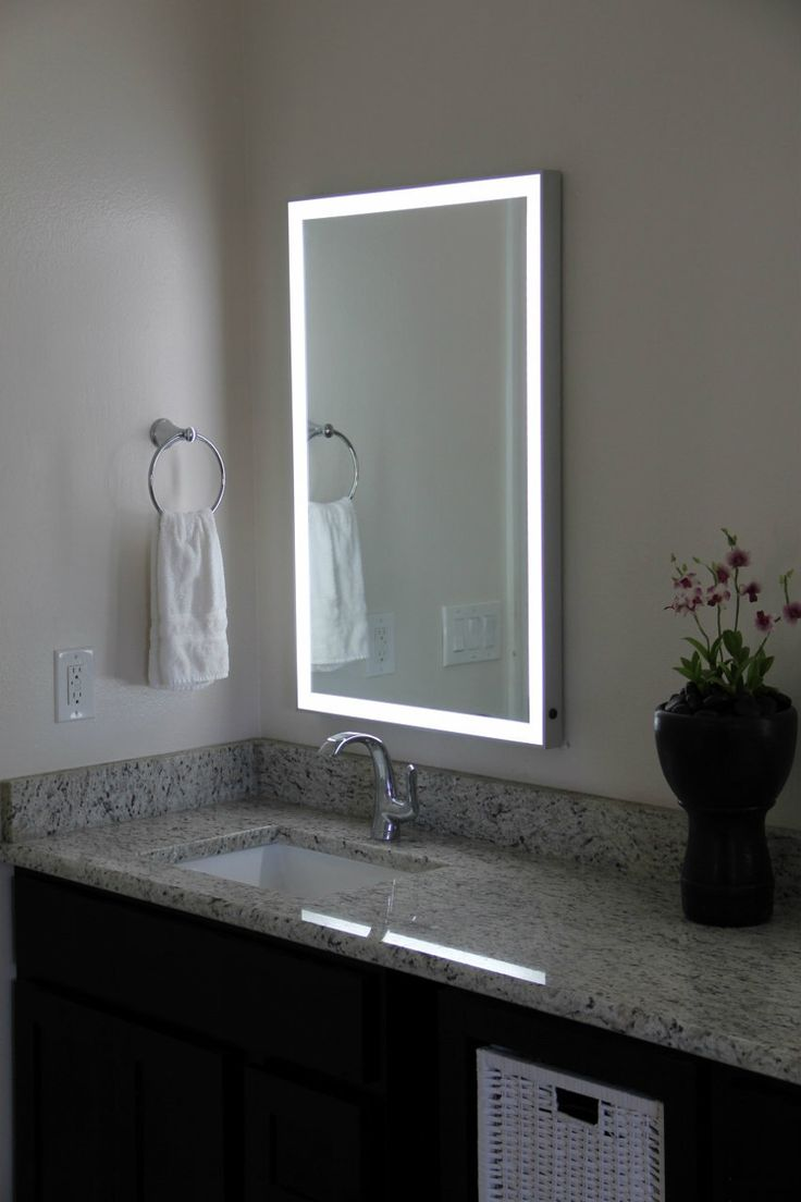 Bathroom mirrors framed 40 inch - Dimmable Led Illuminated Mirror With Aluminum Frame