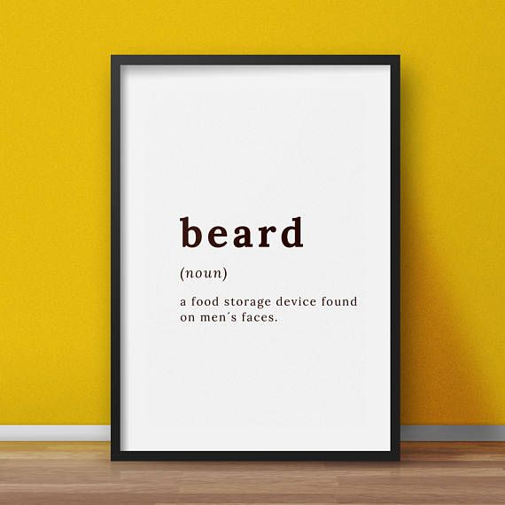 Beard definition  Printable wall art  Typography wall art