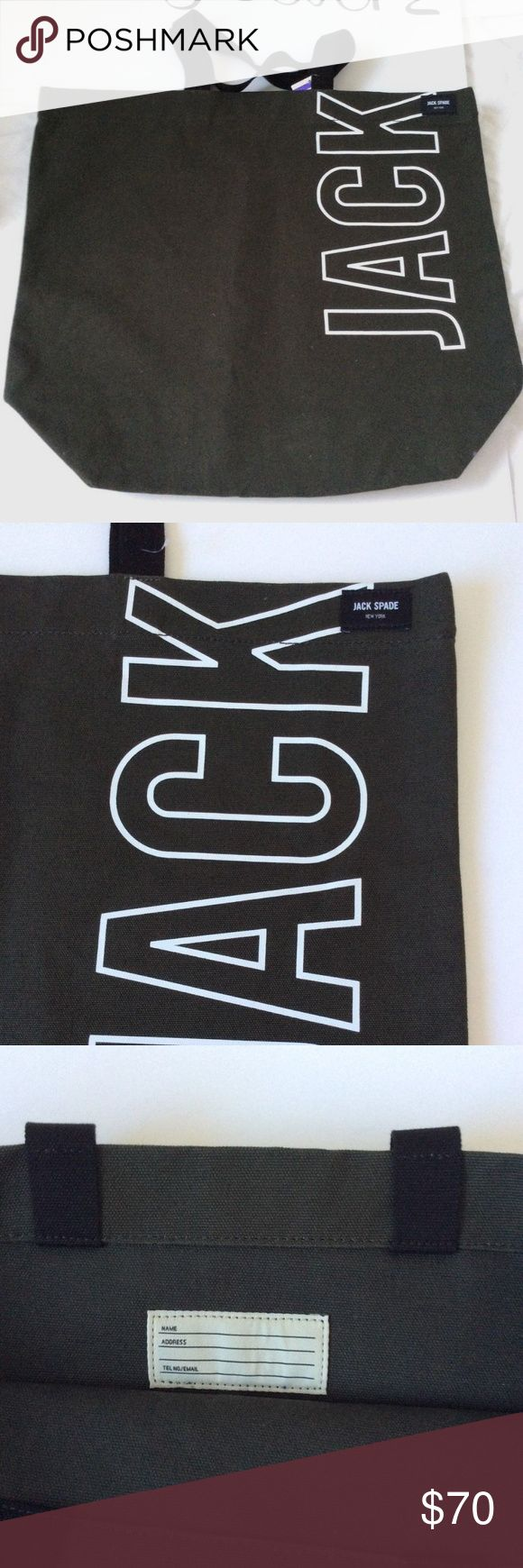 Jack Spade Men's Cotton Basic Canvas Tote Bag 100% Cotton  17 Inches High  20 Inches Wide  The wax waterproofing treatment was originally developed for sailfish  It has a jack logo written on the side  Soft canvas material Jack Spade Bags Totes