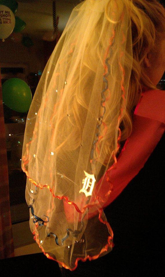 Detroit Tigers Bachelorette Party Veil by studiolmichelle on Etsy, $45.00