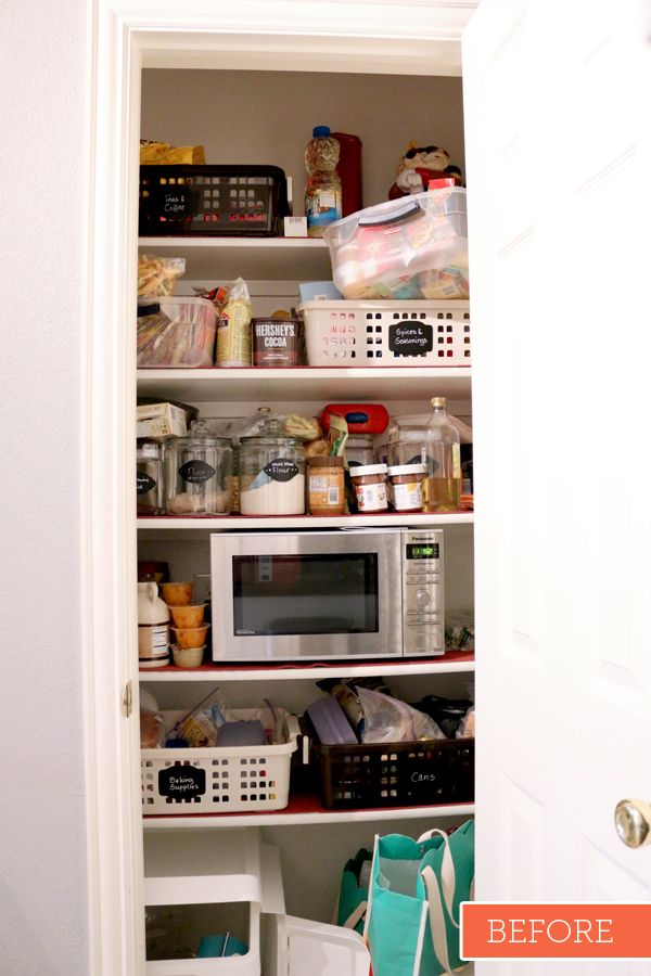 I clean out my pantry frequently, simply because it changes from an organized pantry to a disaster - like my current pantry above. This time I incorporated a little bit of color, replaced the old shelf mats, and painted the entire pantry white. I added some lights and made it more functional for my family.