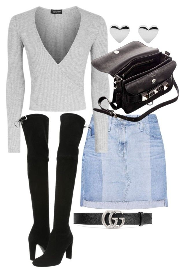 """""""Untitled #22141"""" by florencia95 ❤ liked on Polyvore featuring AG Adriano Goldschmied, Topshop, Proenza Schouler, Stuart Weitzman and Gucci"""