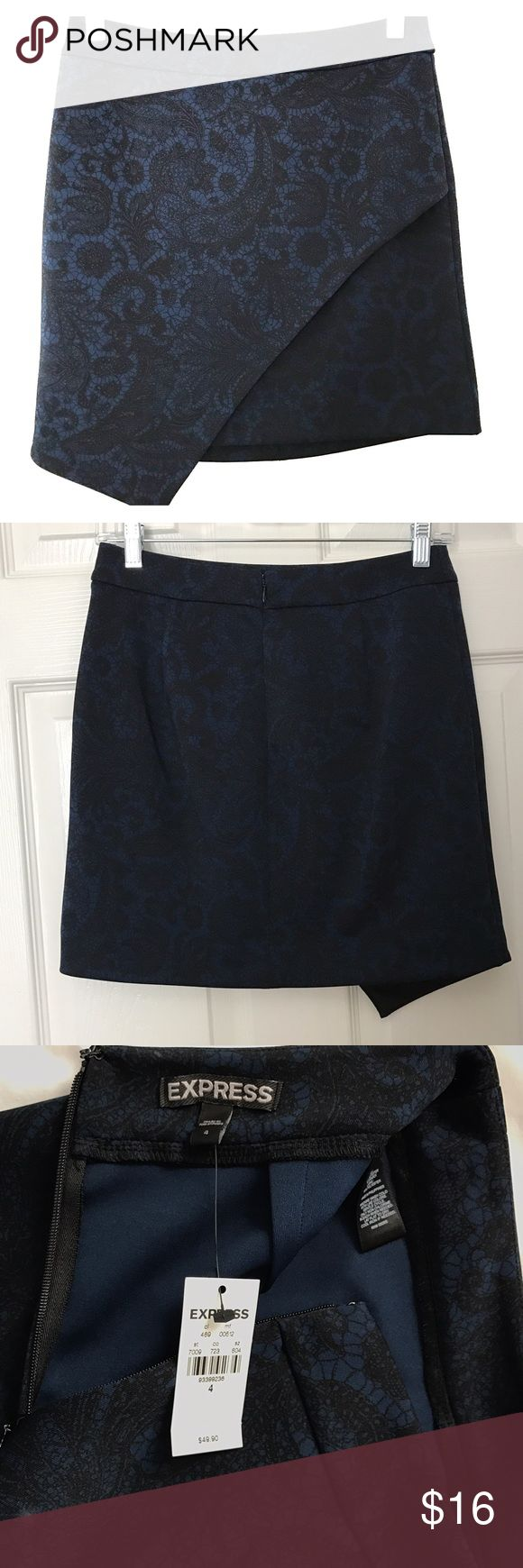 Express blue & black paisley asymmetrical skirt Never worn, NWT, dark blue with paisley detail pattern, zipper closure in back, express size 4, perfect going out skirt Express Skirts Asymmetrical