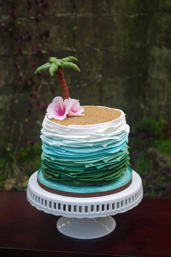 Super fun tropical paradise cake for a lovely lady turning 60. My first go at this look. Very time consuming, but very fun. Wanted the sides to look like water or waves, so I started with white and ended in a deep sea foam green. A sugar palm tree...