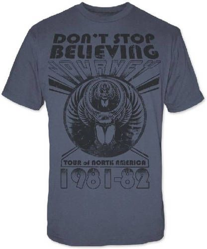 Journey Classic Rock 'n Roll Band Vintage Concert T-Shirt - Don't Stop Believing 1981-1982 North America Tour | Men's Grey Shirt