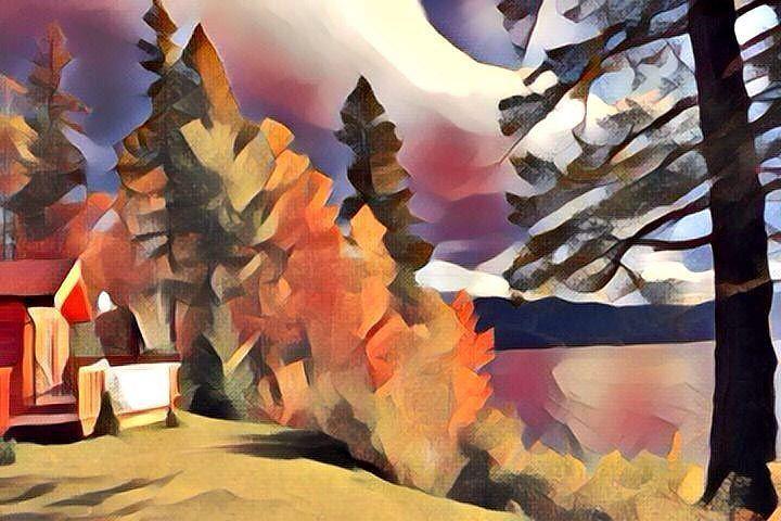 Cabin facing the lake (Dadaism style). Cabaña frente a lago (estilo Dadaísmo). #dadaism #dadaismo #cabin #cabins #cabaña #cabañas #house #houses #casa #casas #lake #lakes #lago #lagos #paisaje #paisajes #landscape #landscapes #art #arts #arte #artes #painting #paintings #paintwork #paintworks #picture #pictures