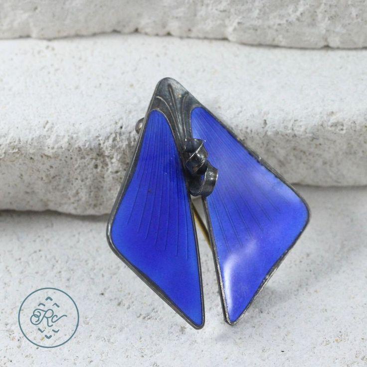 Vintage Sterling Silver - J TOSTRUP NORWAY Blue ENAMEL Wings 9g - Brooch AF5773