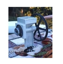 Country Living Grain Mill - The Country Living Grain Mill will grind virtually all dry grains, including wheat, corn, beans, peas, amaranth, etc. Using the Country Living Grain Mill, the average person can grind 7 -1/2 cups of flour in 13 minutes by hand. Has a V-Groove wheel for quick and easy conversion to electric motor. (or propped bicycle wheel)