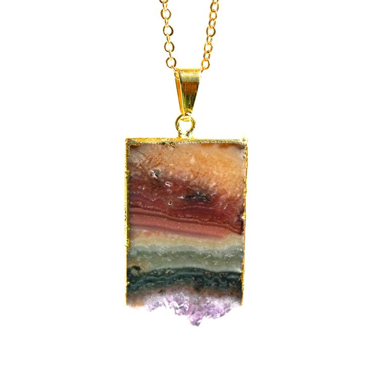 Rainbow Quartz Necklace -  this little gem features a slice of amethyst that's been edged with 24K gold