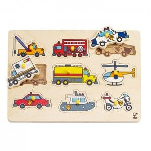 Hape - Emergency Vehicle Peg Puzzle: Elegant and expertly designed the Hape peg puzzles are ideal for younger children learning to solve puzzles. #alltotstreasures #hapepuzzle #emergencyvehiclepuzzle #finemotorskills #problemsolving #emergencypuzzle