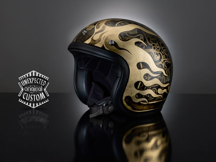 """Custom helmet """"EL MAYA""""  The rich and luxurious design of this original helmet is inspired by the typical signs of the Mayan writing."""