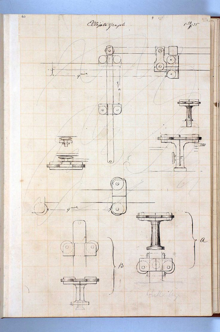 A skethcbook page of pen and ink drawings made by Isambard Kingdom Brunel from c. 1835
