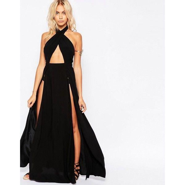 ASOS Cross Neck Split Maxi Beach Dress ($44) ❤ liked on Polyvore featuring dresses, black, halter top, asos, asos dresses, cut out maxi dress and maxi dresses