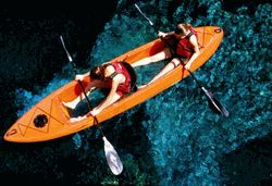 """If we ever move there... buying this. Clear Bottom Double Kayak. 12', Width 31"""", Weighs only 60 pounds, 600 pound capacity.2013 Caribe Kayak $979"""
