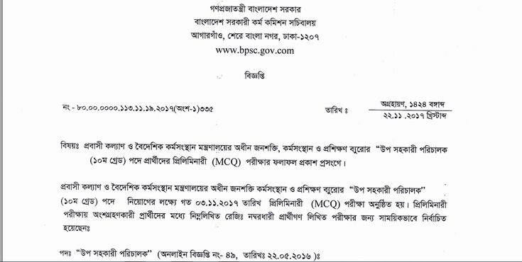 Ministry of Expatriates' Welfare and Overseas Employment Exam Result - jobs test bd