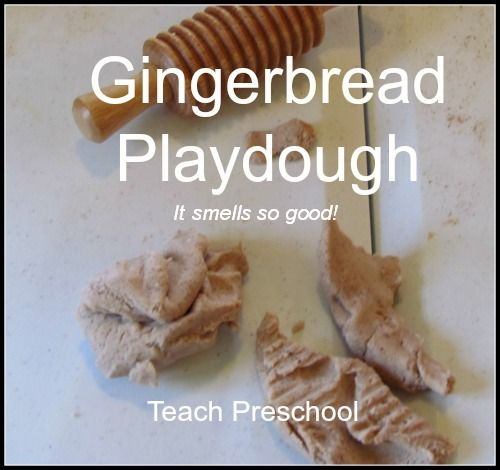 "Reading books by Jan Brett & making gingerbread play dough ("",)"