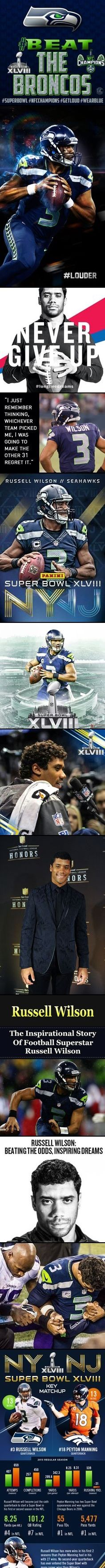 RUSSELL WILSON led the Seattle Seahawks to a dominating 43-8 victory in Super Bowl XLVIII. It was a team win with touchdowns from the defense & special teams, but Wilson was the Seahawks' architect Sunday night & over the past 2 seasons. Wilson completed 72% of his throws Sunday for 206 yards & two touchdowns.