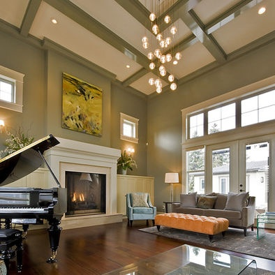 great room with piano and fireplace - Great Room Design Ideas