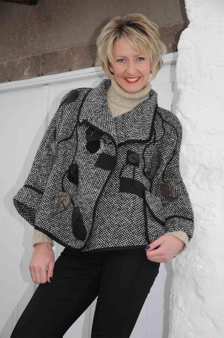 Mara Gibbucci black/oat embellished jacket.f233
