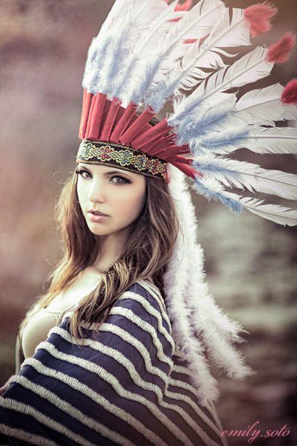 tribal feather headdress Native American - editorial, avant garde, chic, fashion, costume #halloween