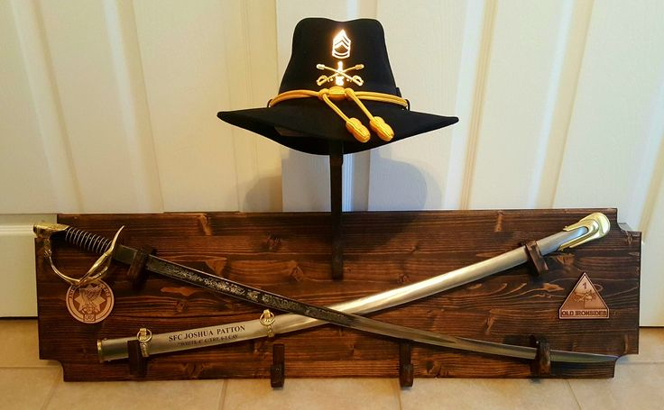 Custom Crossed Sabers With Stetson Holder Wall Display 18