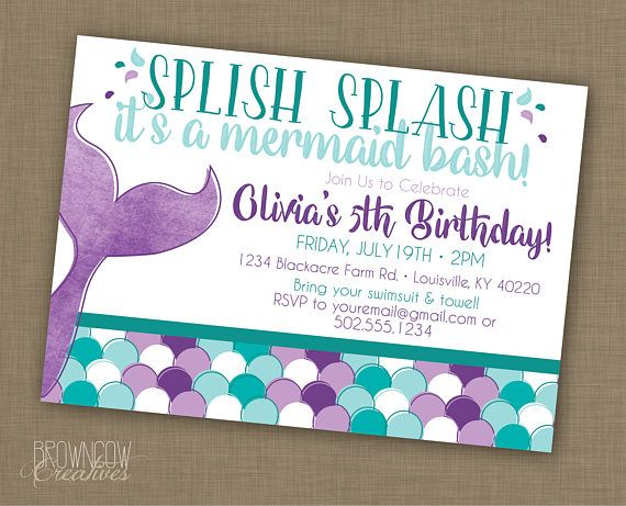 Mermaid Birthday Party Invitation PRINTABLE Invitation Under