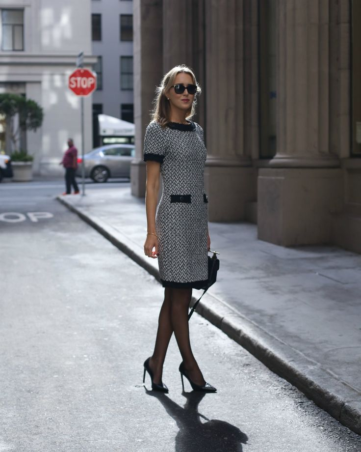 mary-orton-memorandum-30-dresses-30-days-series-fall-winter-day-5-work-business-formal-attire-workwear-client-meeting-black-white-tweed-suit-dress-st-john-mod