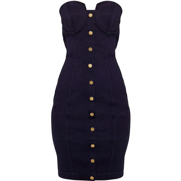 Jaqueine Dark Wash Button Through Denim Bodycon Dress ❤ liked on Polyvore featuring dresses, blue denim dress, body con dresses, blue bodycon dress, denim dress and body conscious dress