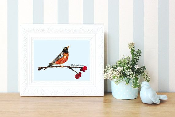 8x10 Red Breasted Robin Bird Button Art Button Red by BellePapiers