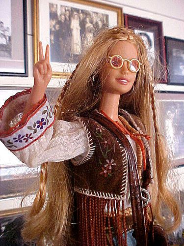 hippie barbie - I totally had one of these with a purple fringe vest - LOVED HER!