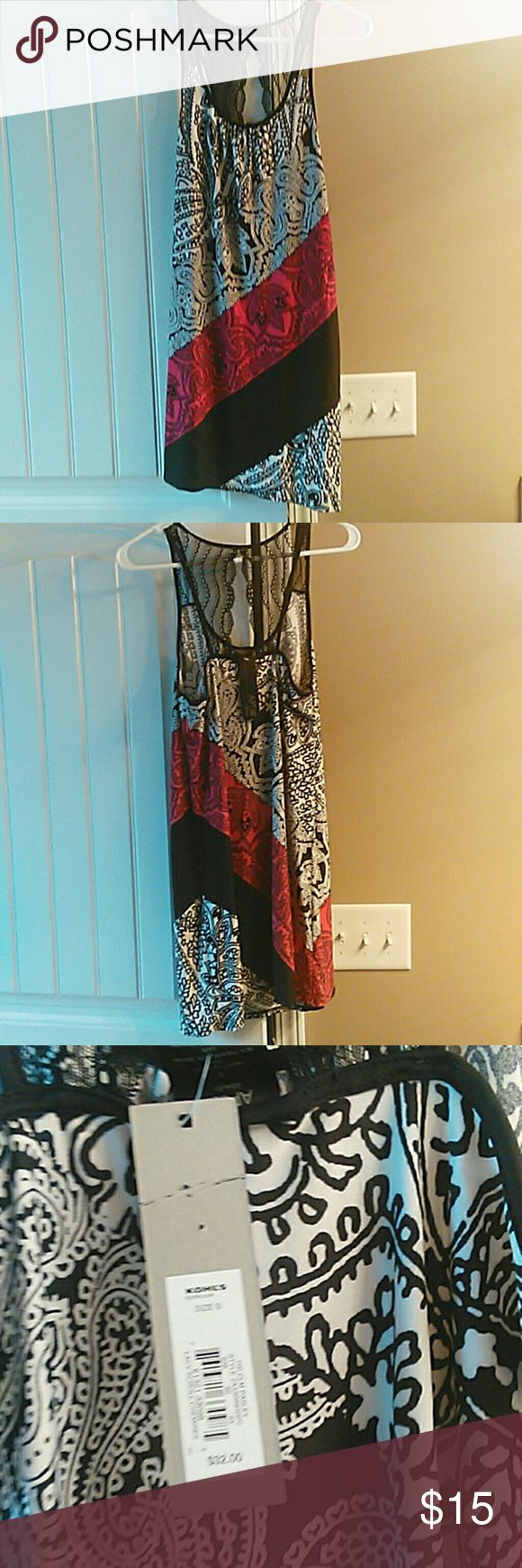 NWT Junior's Summer dress Red black and white juniors summer dress very soft material will keep you cool in the summer with a black lace on the top in the back Apt. 9 Dresses Midi