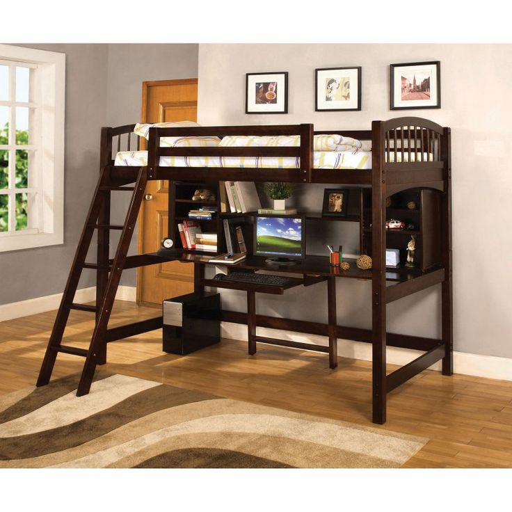Furniture of America Bowery Bookcase Twin Loft Bed - Espresso - IDF-BK263