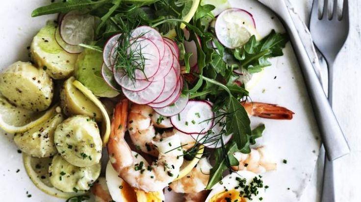 Potato, prawn and avocado salad