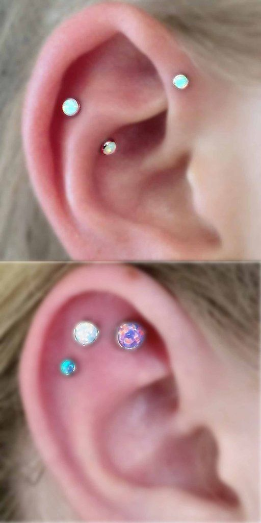 Cute Multiple Ear Piercing Ideas - Opal Triple Cartilage Earring Studs - Rook Barbell - Forward Helix - MyBodiArt.com