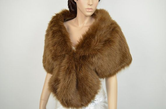 Brown Faux Fur Wrap Bridal Wrap Faux Fur Shrug Faux Fur