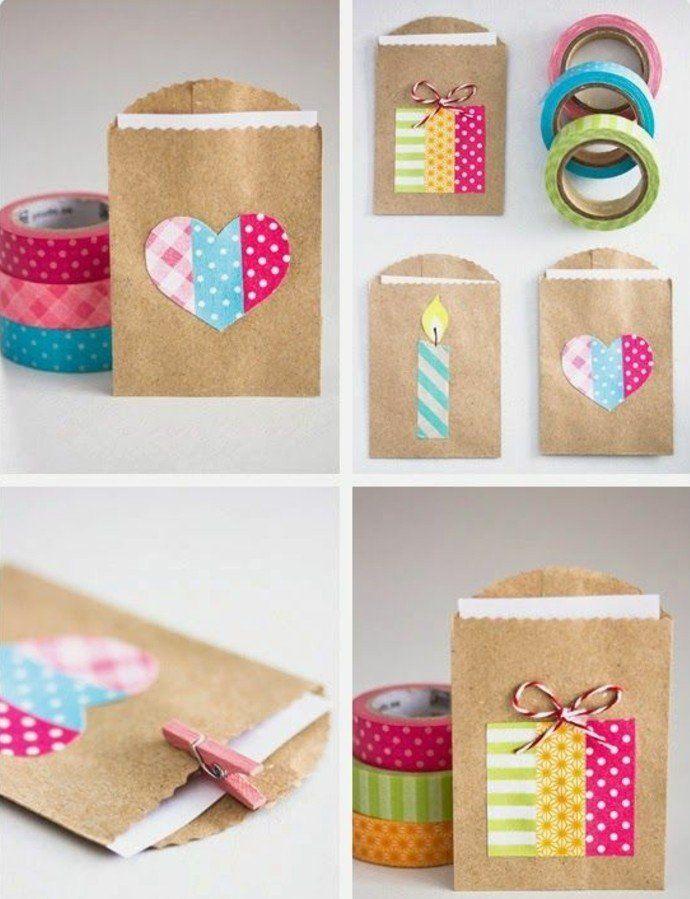 utiliser le ruban adhésif pour décorer vos sacs kraft, une décoration colorée